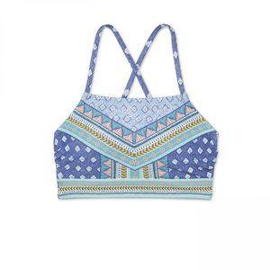 NWT Xhilaration High Neck Bikini Top Small Blue